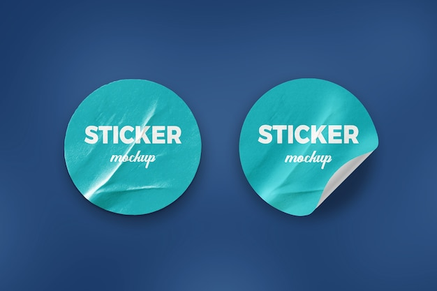 Close up on round sticker mockup