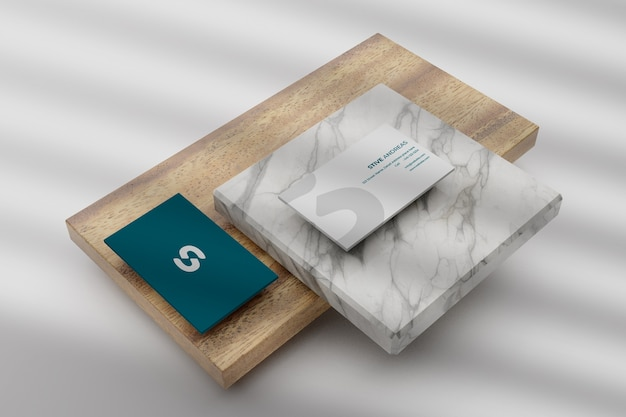 Close up on rounded corner business card mockup