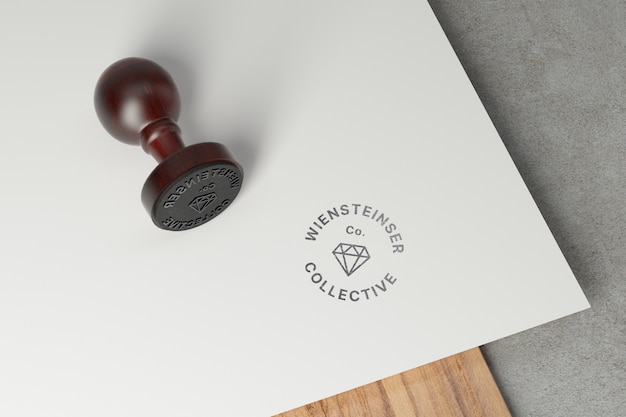 Close up on rubber stamp logo mockup