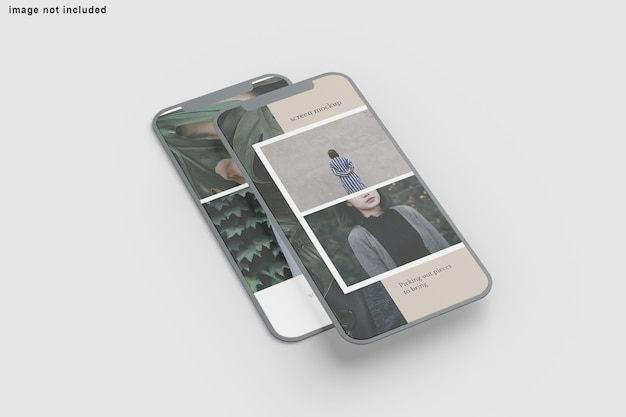 Close up on screen phone mockup isolated