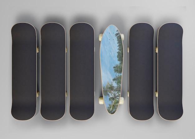 Close-up set of skateboards with mock-up