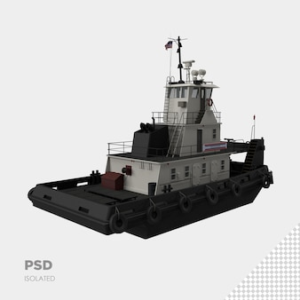 Close up on ship 3d isolated premium psd