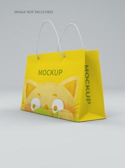 Close up on shopping bag mockup