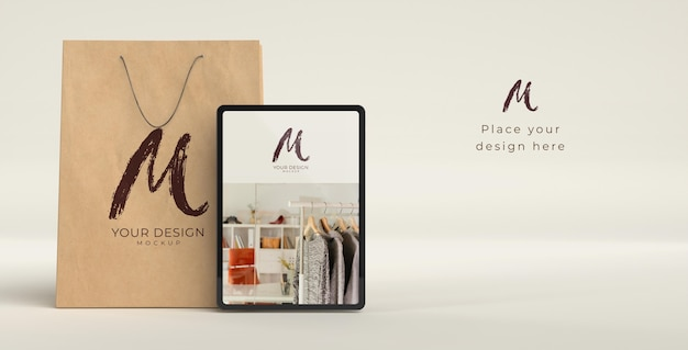 Close up on shopping bag with digital device mockup