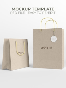 Close up on shopping paper bag mockup