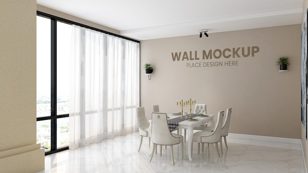 Close up on silver logo mockup on cafe decoration wall