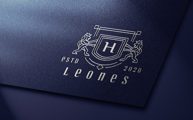 Close up of silver pressed luxury logo mockup