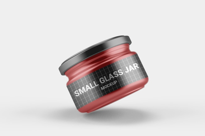 Close up on small glass jar mockup with lid
