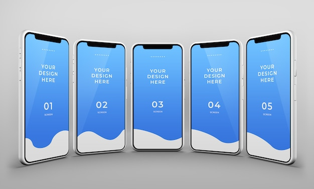 Close up of smart phones mockup