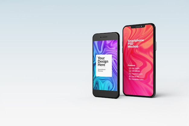 Close up on smartphone mockup isolated