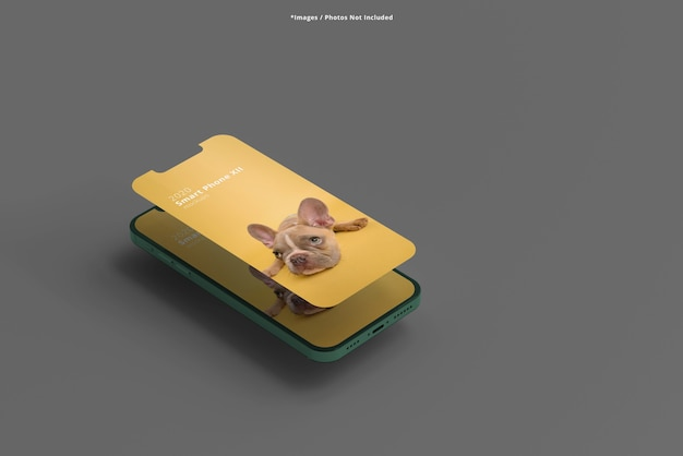 Close up on smartphone mockups isolated