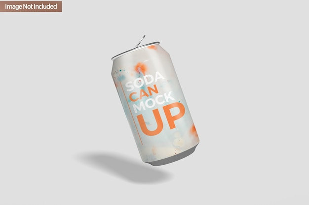 Close up on soda can mockup isolated