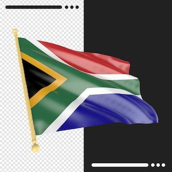 Close up on south africa flag rendering isolated