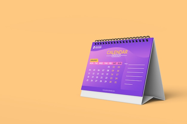 Close up on spiral calendar mockup design templates in front view