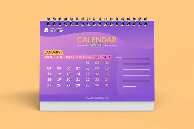 Close up on spiral calendar mockup design