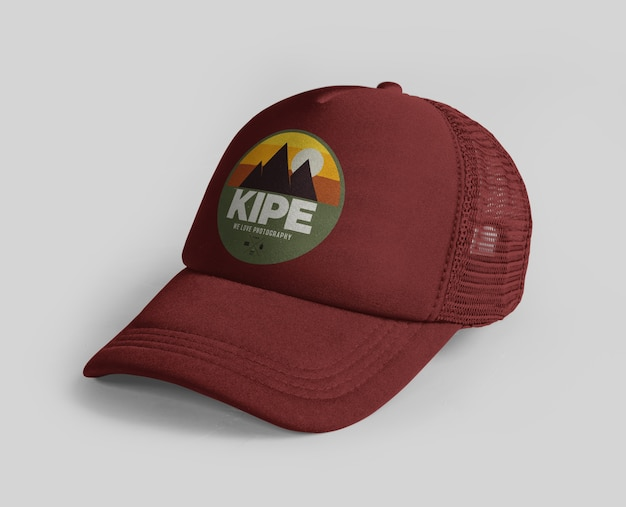 Close up on sports cap logo mockup isolated