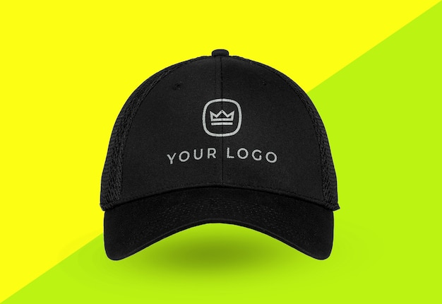 Close up on sports cap logo mockup isolated