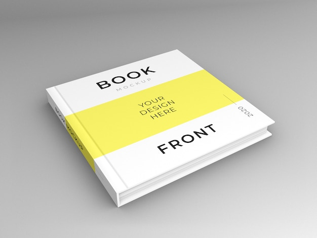 Close up on square book cover mockup