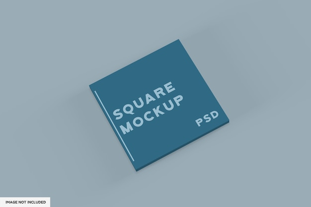 Close up on square book front mockup