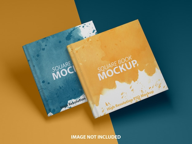Close up on square book mockup design