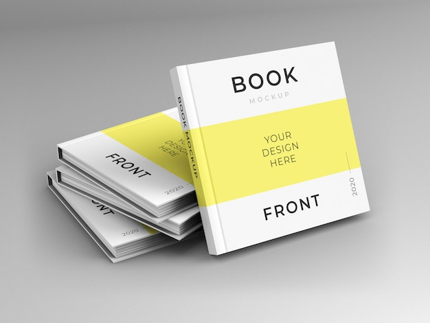 Close up on square books cover mockup