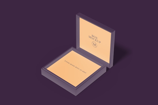 Close up on square box mockup isolated