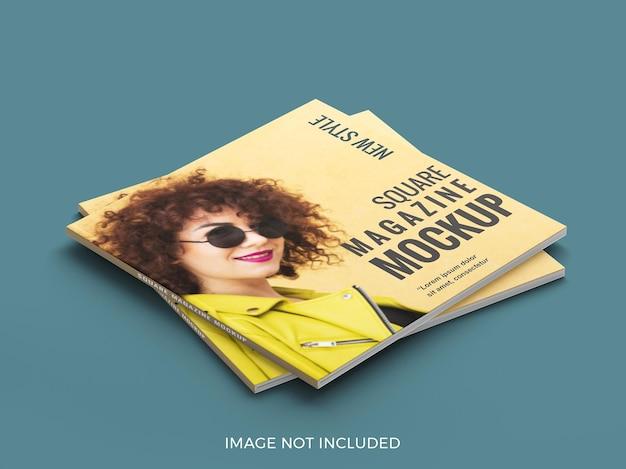 正方形の雑誌のモックアップを閉じる