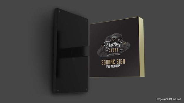 Close up on square sign mockup isolated