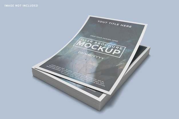 Close up on stacked of flayer brochure mockup