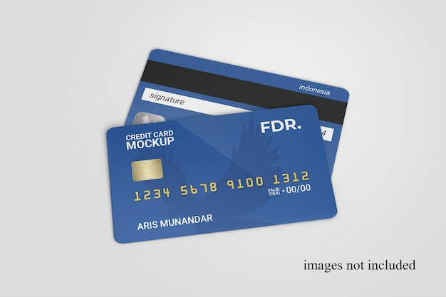 Close up on standing credit cards mockup