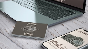 Close up stationery mockup with photography concept