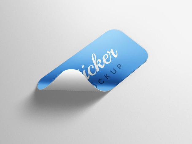 Close up on sticker mockup isolated