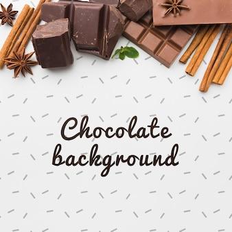 白い背景のモックアップとクローズアップの甘いチョコレート