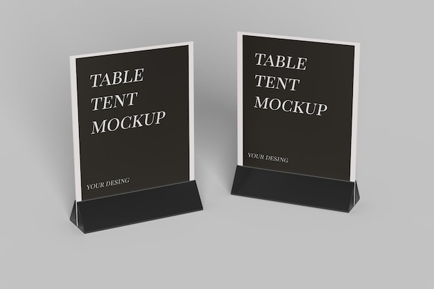 Close up on table tent mockup design isolated