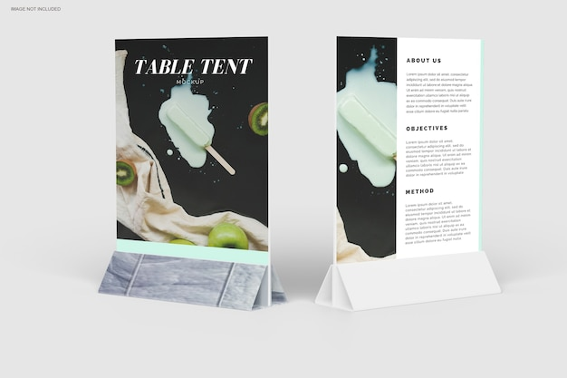 Close up on table tent mockup design