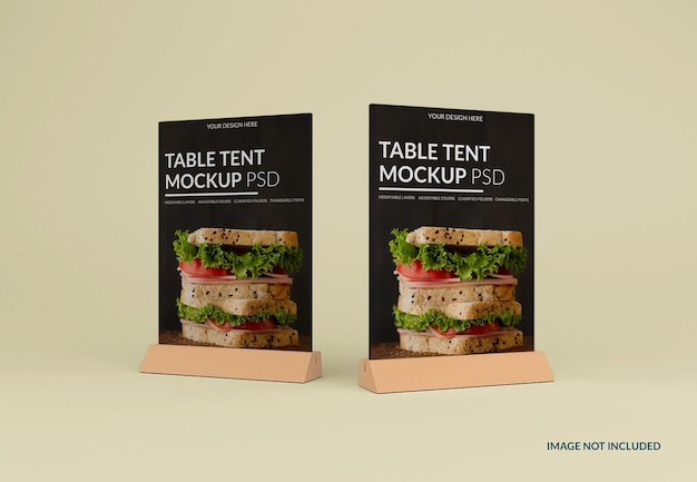 Close up on table tent mockup isolated