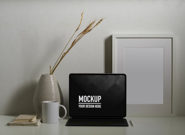 Close up of tablet mockup with coffee cup