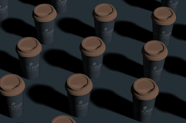 Close up on take away paper coffee cup mockup