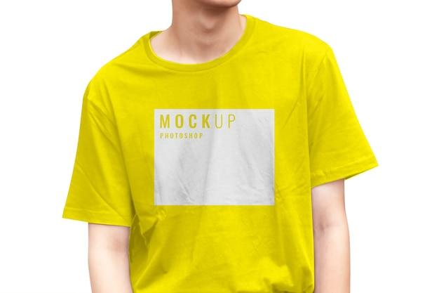 Close up on teen wearing yellow shirt mockup for branding