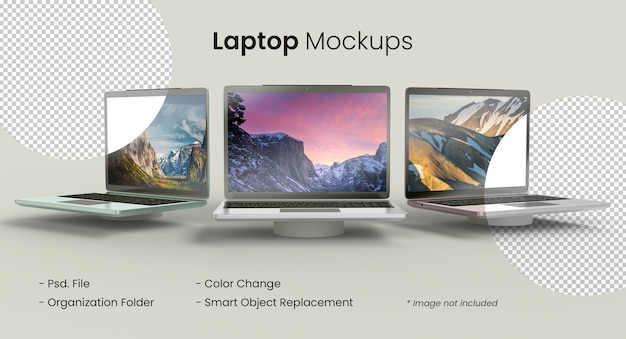 Close up on three laptop mockup design isolated