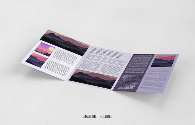 三つ折りパンフレットのモックアップデザインをクローズアップ