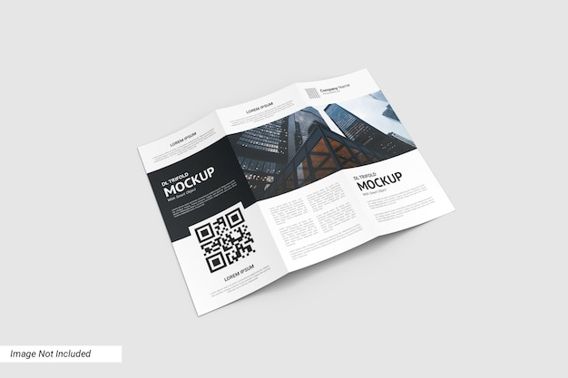 Close up on trifold flyer mockup isolated