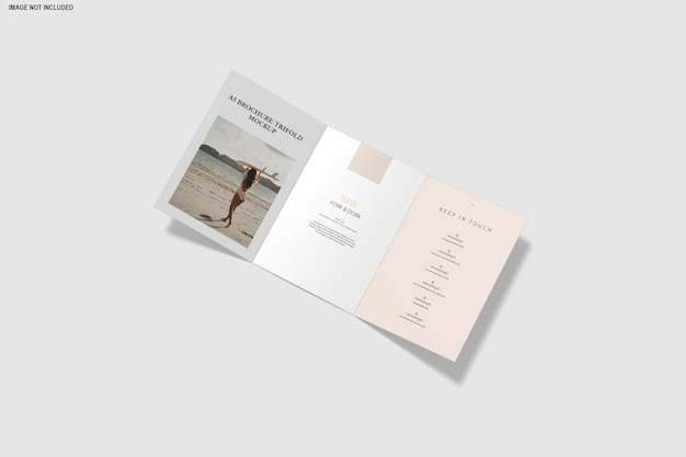 Close up on trifold mockup brochure isolated