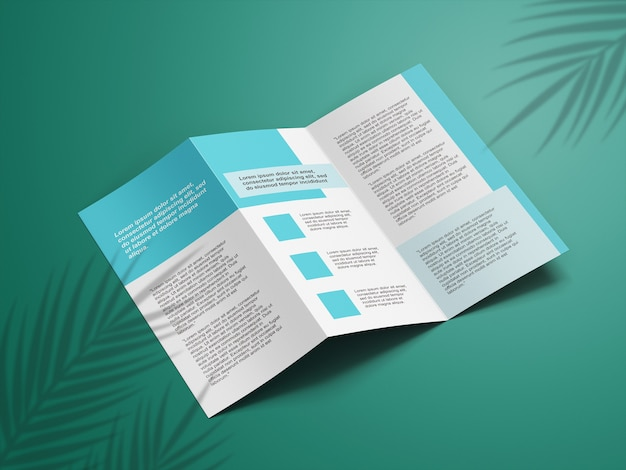 Close up on trifold mockup brochure