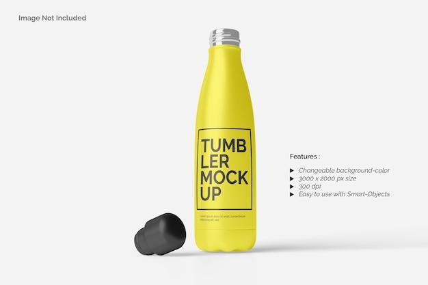 Close up on tumbler bottle mockup isolated
