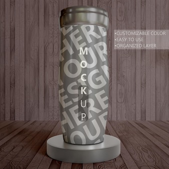 Close up tumbler mockup isolated on wooden plank