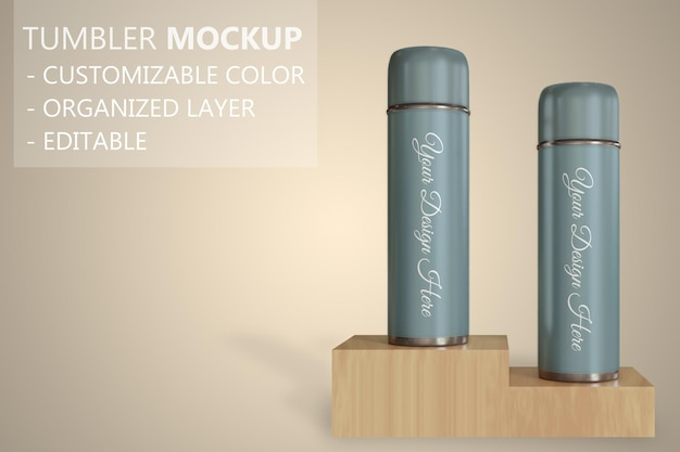 Close up on tumbler or vacuum flask mockup standing on the wooden box