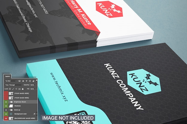 Close-up of two business card stack mockup
