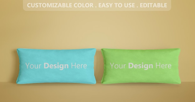 Close up on two rectangle pillow mockup 3d