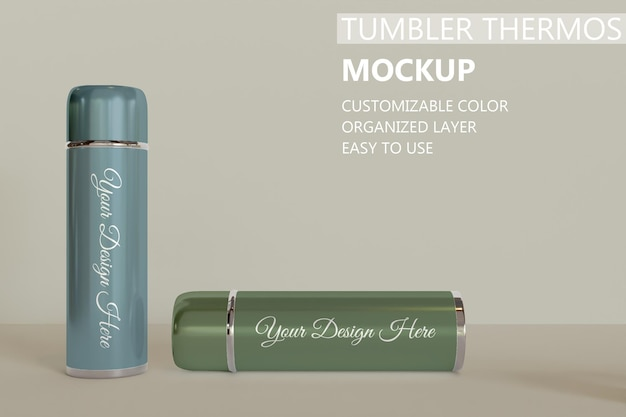 Close up on two tumbler or vacuum flask mockup
